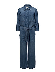 SLFVICTORIA 7/8 CROP DENIM JUMPSUIT W - DARK BLUE DENIM