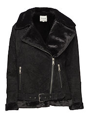 SLFVICTORIA SPILT LEATHER JACKET  W - BLACK