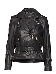 SLFMARIA LEATHER JACKET B - BLACK