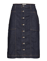 SLFBELLA HW LONG INDIGO BL DENIM SKIRT W - DARK BLUE DENIM