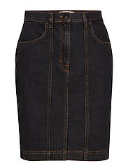 SLFJOY HW DARK GREY DENIM SKIRT W - GREY DENIM