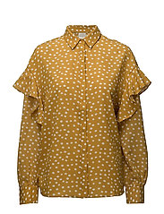 SFCHANIE LS FLOUNCE SHIRT RT - HONEY