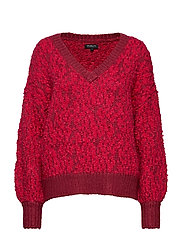 SLFGABA LS KNIT V-NECK B - BEET RED