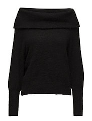 SLFKAILA LS KNIT OFF-SHOULDER B - BLACK