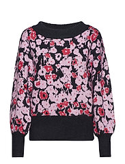 SLFFLOWERA LS KNIT O-NECK B - ORCHID