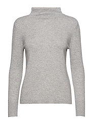 SLFAYA CASHMERE LS KNIT T-NECK B - LIGHT GREY MELANGE
