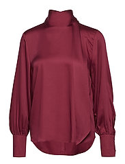SLFQUINN LS NECK TIE TOP B - BEET RED