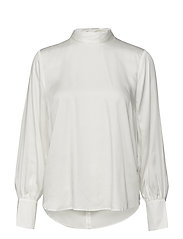 SLFQUINN LS NECK TIE TOP B - SNOW WHITE