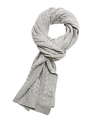 SLFCARMI KNIT CABLE SCARF - LIGHT GREY MELANGE