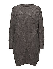 SLFGINA LS KNIT O-NECK DRESS W - MEDIUM GREY MELANGE