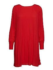 SLFPIPER LS SHORT PLISSE DRESS B - TRUE RED