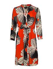 SLFDAMINA 7/8 AOP DRESS B - ORANGE.COM