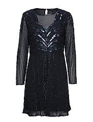 SLFJUNA LS BEADED SHORT DRESS B - BLACK