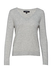 SLFAYA CASHMERE LS KNIT V-NECK B - LIGHT GREY MELANGE