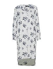 SLFDYNELLA LS AOP DRESS B - CREME