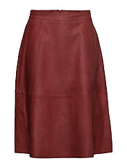 SLFMARLA HW MIDI LEATHER SKIRT B - FIRED BRICK