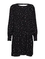 SLFPIPER LS SHORT AOP PLISSE DRESS B - BLACK