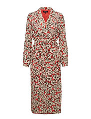 SLFREBA LS MIDI WRAP DRESS EX - POPPY RED