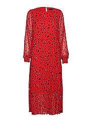 SLFBELLA LS PLISSE DRESS EX - TRUE RED