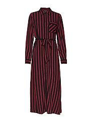 SLFFLORENTA LS AOP ANKLE SHIRT DRESS - BLACK