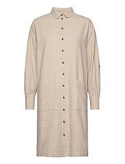 SLFMALVINA-TONIA LS SHIRT DRESS B - SANDSHELL