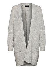 SLFLULU LS KNIT LONG CARDIGAN - LIGHT GREY MELANGE