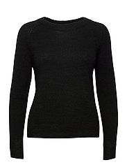 SLFLULU LS KNIT O-NECK - BLACK