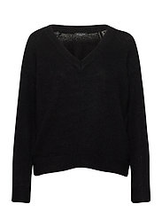 SLFLULU LS KNIT V-NECK B - BLACK