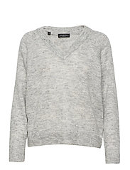 SLFLULU LS KNIT V-NECK B - LIGHT GREY MELANGE