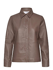 SLFMOON LS LEATHER SHIRT  W - FOSSIL