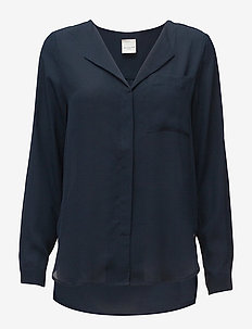 SLFDYNELLA LS SHIRT NOOS - long sleeved blouses - navy blazer
