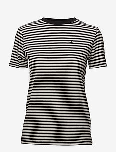 SLFMY PERFECT SS TEE BOX CUT-STRI. NOOS - t-shirts - black