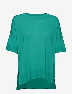 SFWILLE SS KNIT PULLOVER - short-sleeved blouses - gumdrop green