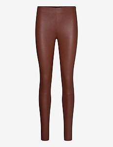 SLFSYLVIA MW STRETCH LEATHER LEGGIN B - leather trousers - cherry mahogany
