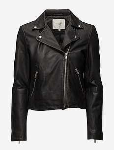 SLFMARLEN LEATHER JACKET B NOOS - BLACK