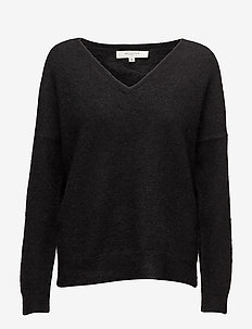 SLFLIVANA LS KNIT V-NECK NOOS - BLACK