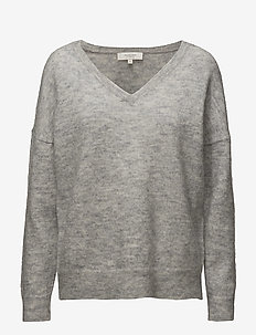 SLFLIVANA LS KNIT V-NECK NOOS - pulls - light grey melange