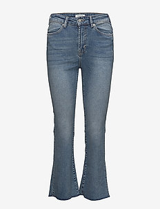 SLFLANA XHR BOOTCUT CROPPED HUSH BLUE EX - boot cut jeans - medium blue denim