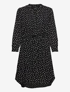 SLFDAMINA 7/8 AOP DRESS NOOS - shirt dresses - black