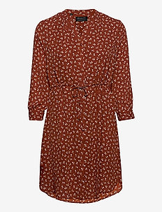 SLFDAMINA 7/8 AOP DRESS NOOS - shirt dresses - smoked paprika