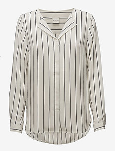 SLFDYNELLA STRIPE LS SHIRT NOOS - long sleeved blouses - creme