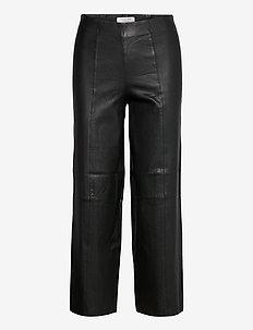 SLFANNA CROP WIDE STRETCH LEATHER PANT W - uitlopende broeken - black