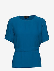 SLFTANNA SS TOP B - t-shirts - mykonos blue
