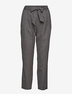 SLFBIO MW CROPPED WOOL PANT B - rette bukser - medium grey melange