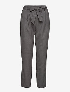 SLFBIO MW CROPPED WOOL PANT B - bukser med lige ben - medium grey melange