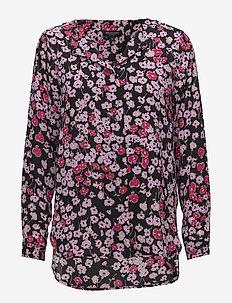 SLFDYNELLA AOP LS SHIRT B - long sleeved blouses - black