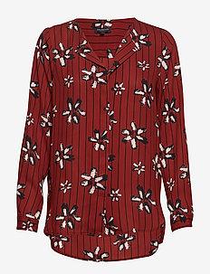 SLFDYNELLA AOP LS SHIRT B - long sleeved blouses - fired brick