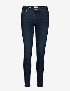 SLFIDA MW SKINNY DARK BLUE JEANS W NOOS - DARK BLUE DENIM