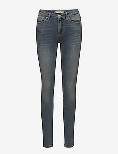 SLFIDA MW SKINNY MID BLUE JEANS W  NOOS - MEDIUM BLUE DENIM