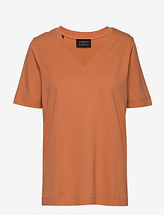 SLFSTANDARD SS V-NECK TEE SEASONAL - t-shirts basiques - caramel